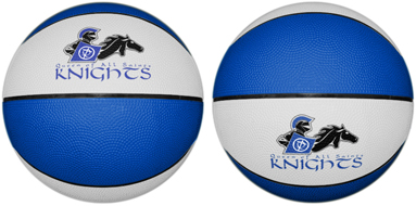 Basketballs for sports camps. You specify the color of the basketball, the logo and the seams.