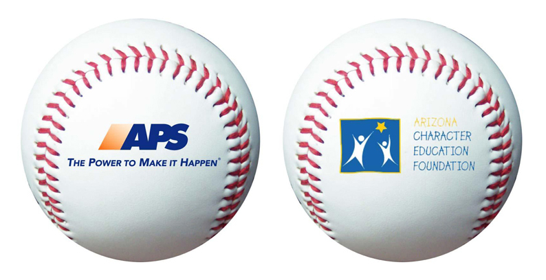 Customized baseballs with your printed logo. Send us your logo for a FREE virtual sample.