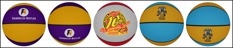 Custom rubber basketballs with your printed logo. Custom rubber basketballs are available with any colors you specify.