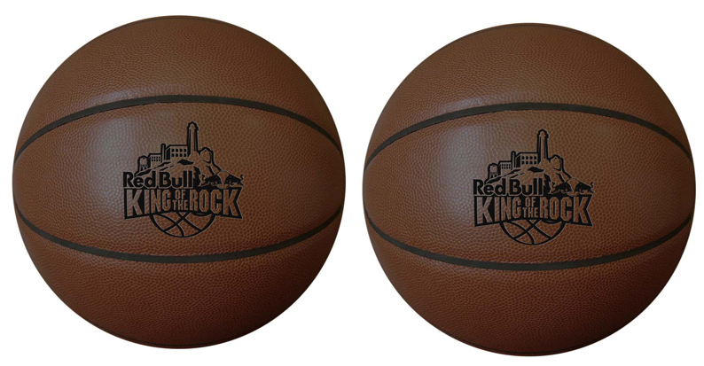 One-color imprint onto a dark colored synthetic leather basketball. There are many basketball sizes to choose from.