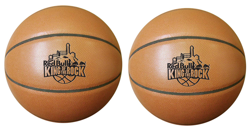 Light colored synthetic leather basketball with one-color imprint. We also offer logo debossing.